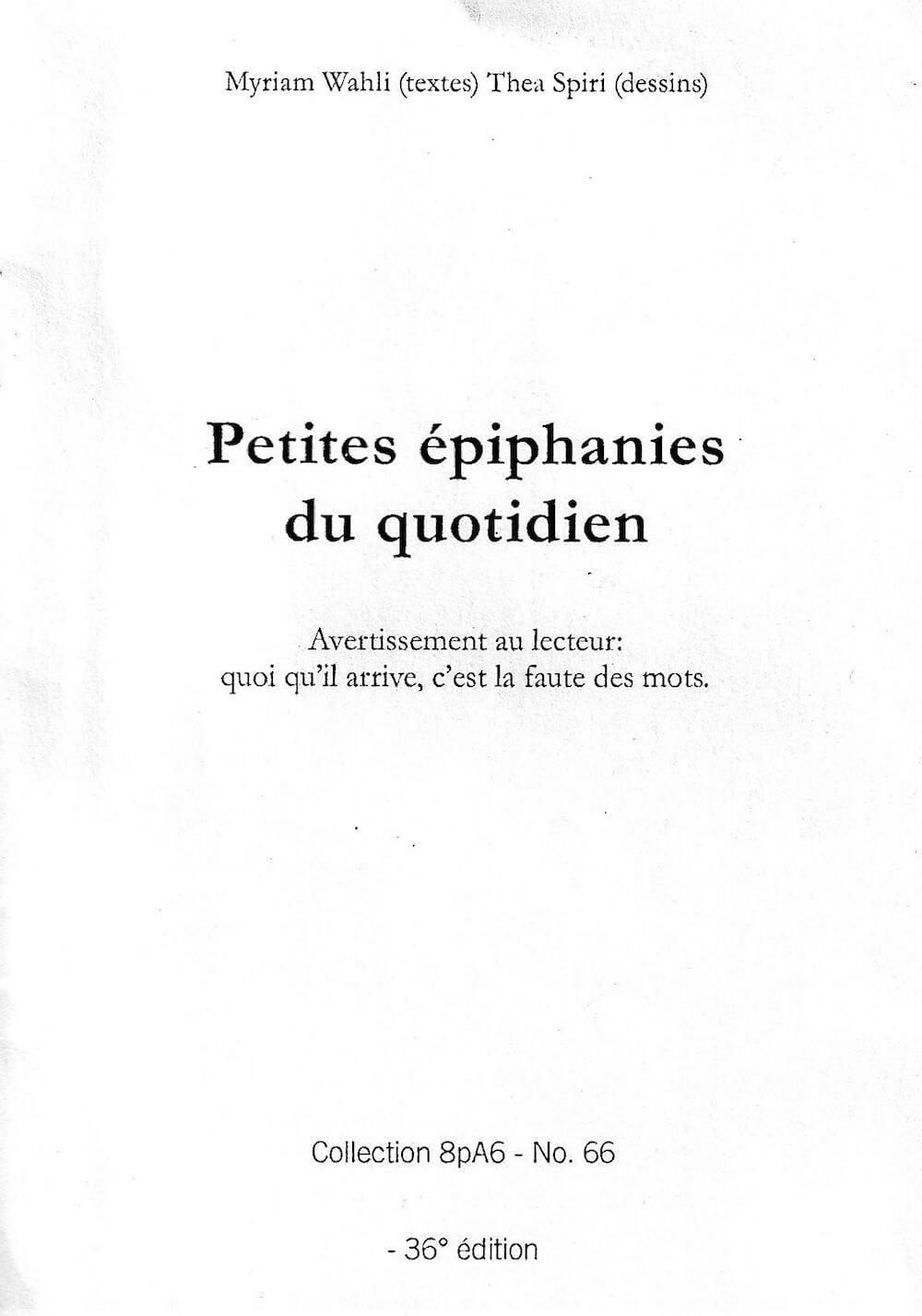 """Couverture du livre """"Petites épiphanies du quotidien""""."""